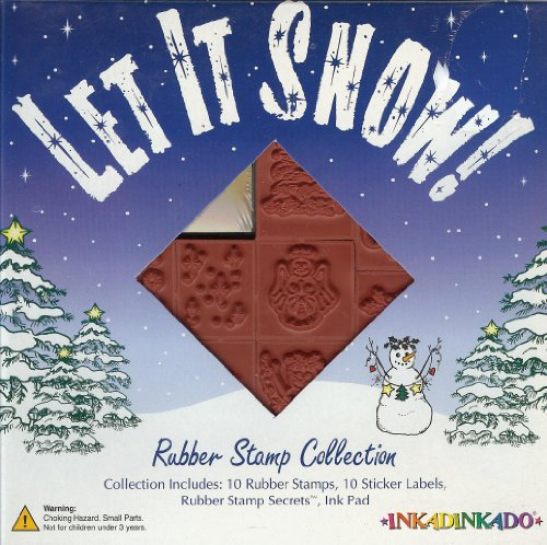Let It Snow! Christmas, Winter Unmounted 10 Rubber Stamp Set (w/ FREE Ink Pad) -3 Different Kind Of Snowmen, Christmas Tree, Holly, Snowman Angel, Christmas Heart, Snow Flakes, Stars, Let It Snow Wording-