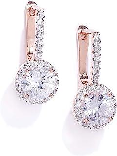 Zaveri Pearls Glittering Cubic Zirconia Studded Rose Gold Bali Earring For Women-ZPFK7993