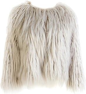 Sponsored Ad - Dikoaina Women's Solid Color Shaggy Faux Fur Coat Jacket