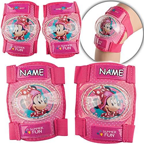 alles-meine.de GmbH 4 TLG. Set - Knieschoner + Ellenbogenschützer - Disney - Minnie Mouse - inkl. Name - für Circa 4 bis 12 Jahre - Kinder - Schutzausrüstung - Gelenkschützer Kni..