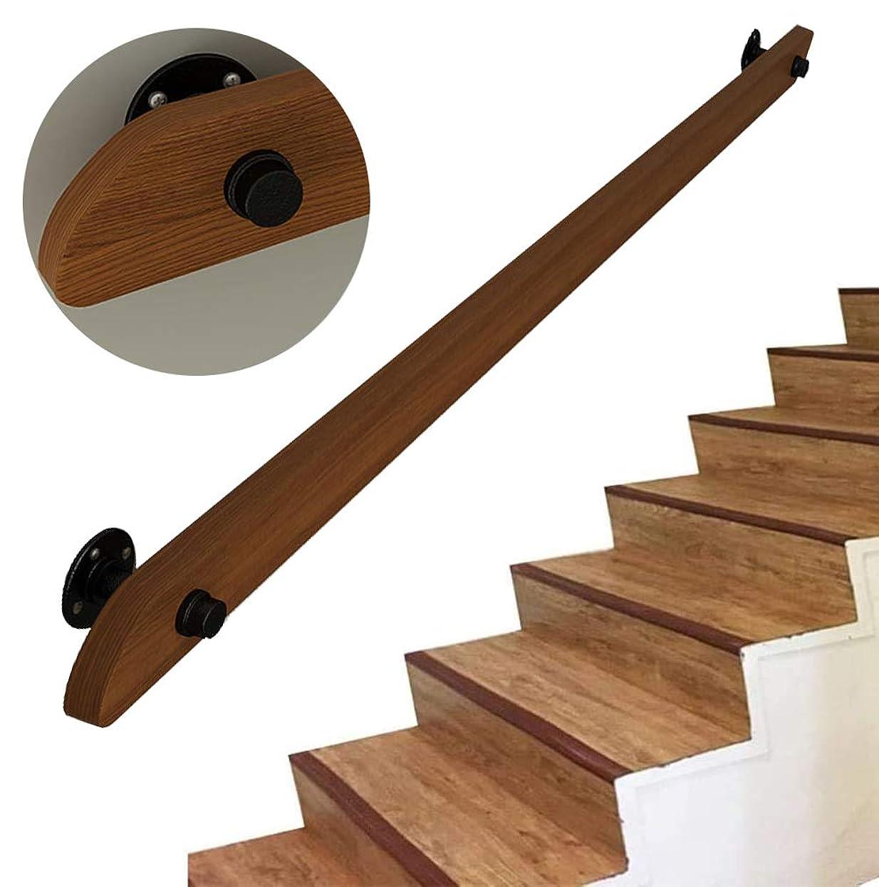 朝ごはん共感するアスレチックCFJRB 屋内階段ステップ用の木製手すり、1ft-19ft。プロのノンスリップパイン手すり一式キット、壁取り付け式家の廊下ロフトデッキ手すり(Size:15ft / 450cm)