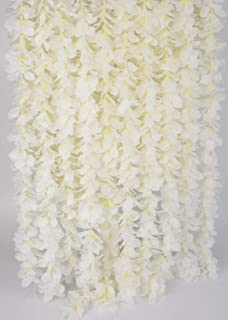 LUSHIDI 32.8Ft Artificial Silk Wisteria Vine Hanging Flowers Garland Home Outdoor Wedding Arch Garden Wall Decor,Pack of 10 (Off White)