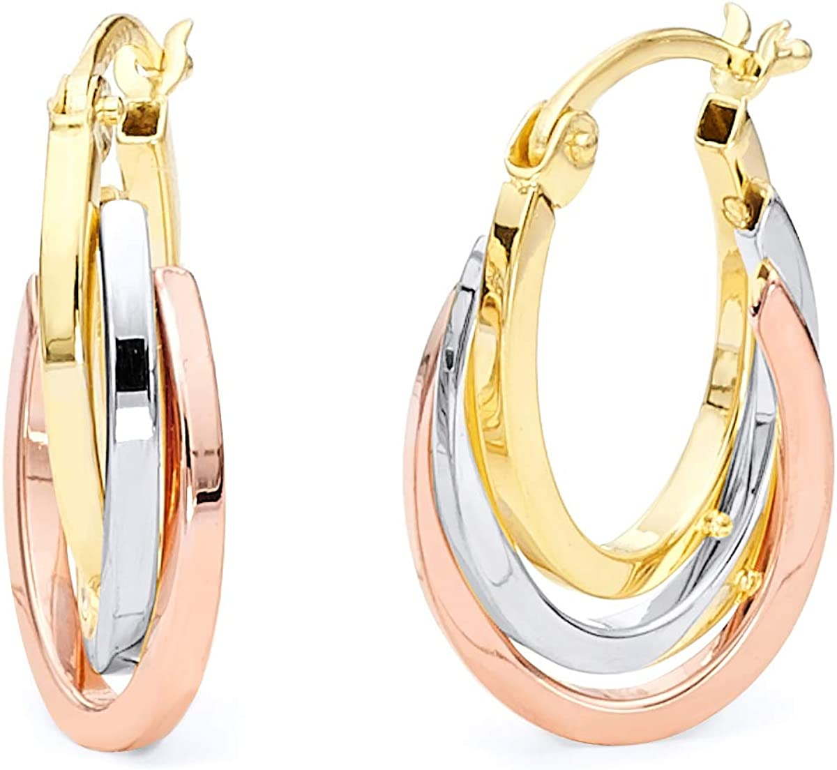 Wellingsale Ladies 14k 3 Max 50% OFF Tri Color Yellow and Gold Rose Regular discount Po White
