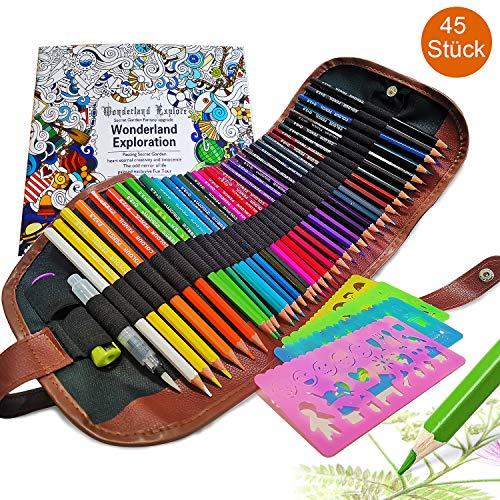 SPROUTER Buntstifte Set mit Rollbarem Aufbewahrungsbeutel, 4 Schablonen, 1 Wasserpinsel, 2 Spitzer und Malbuch zum Zeichnen, Graffiti, Mandala und Stressabbau, Geschenk für Künstler und Kinder, 45PCS