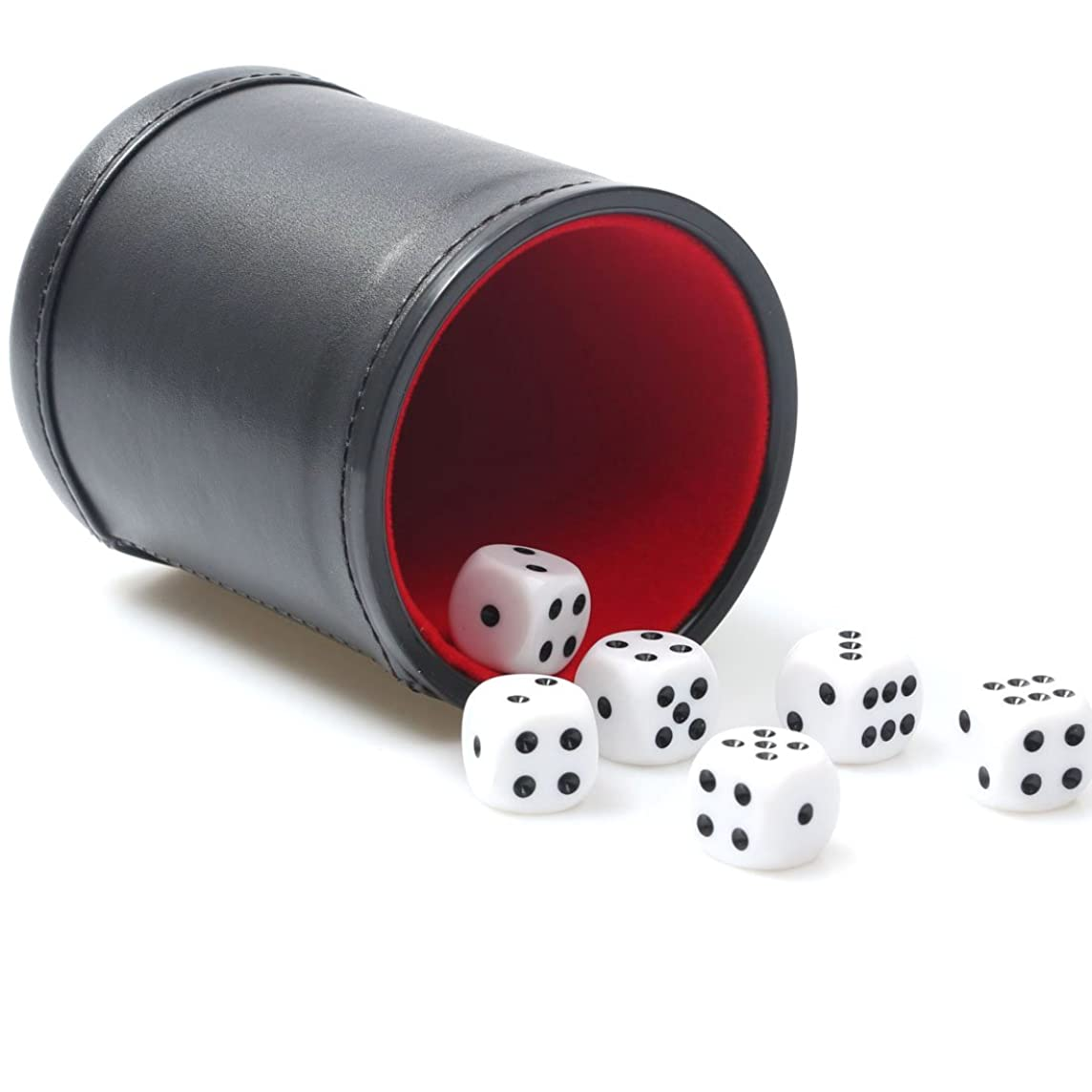RERIVER Felt Lined Pu Leather Dice Cup Set with 6 Dot Dices (Black, Pack of 1)