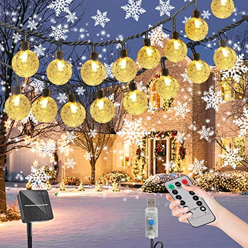 Solar Christmas Lights Outdoor Indoor Deco,Waterproof Fairy Light,Globe Crystal Outside Tree Lights with Remote Control for Fence, Christmas Tree, Garden, Patio, Yard, Wedding, Party. Warm White