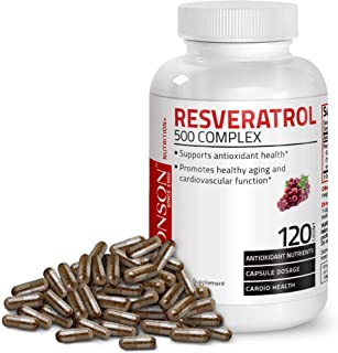 Resveratrol 500 Complex Red Wine Extract Natural Antioxidant Supplement for Cardiovascular & Immune System Health, 120 Cap...