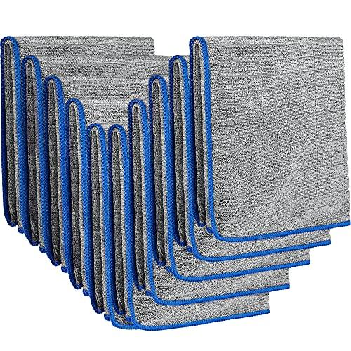EASY EAGLE 10 Piezas Toalla Secado Coche 40x40cm, 380GSM Bayetas de Limpieza de Microfibra para Coche Cuidado
