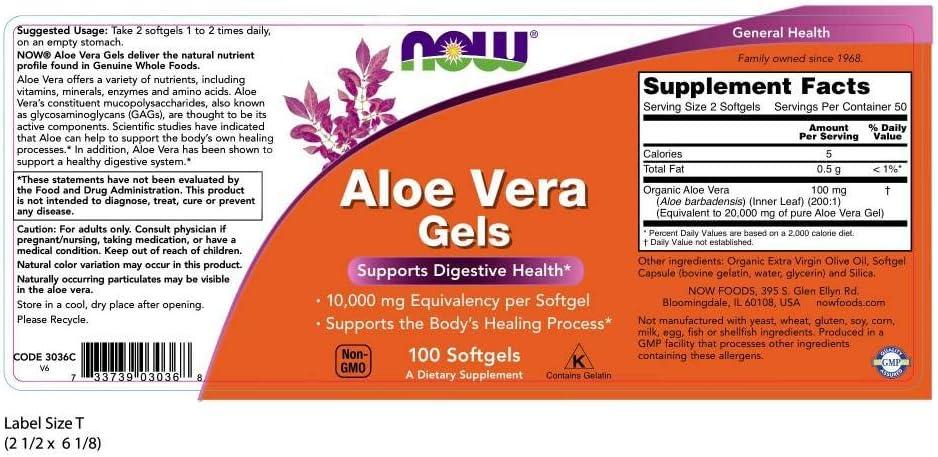 NOW Aloe Vera Gels, 10000mg, 100 Softgels (Pack of 3) : Health & Household