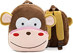 DLSEEGO Cute Toddler Backpack,Cartoon Cute Animal Plush Backpack Toddler Mini School Bag for Kids Age 2-5 Years Old(Monkey)