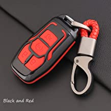ontto Smart Key Cover Case Key Shell Remote Key Box Key Chain Key Ring Prevent Scratch and Falling Fit for Ford Lincoln Taurus Explorer Mustang (Black and Red)