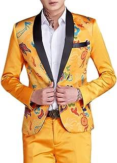 ainr Men¡¯s Designer 2-Piece Fish/Leopard Floral Printed One Button Notch Lapel Wedding Blazer Suit