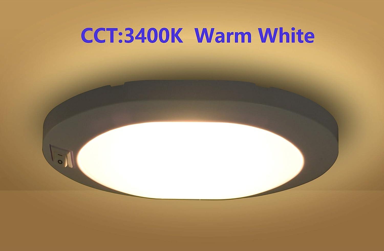 Pack of 2 KICORED RV Interior Light//Ceiling Lights with ON-Off Switch //12 Volt Led Lights//Puck Lights for RV,Trailer Lights,Camper Lights and Boat Lights Warm White 3400K 2