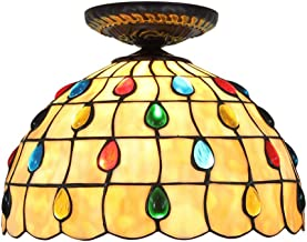 Tiffany Ceiling Fixture Lamp Semi Flush Mount 12 Inch Dragonfly Stained Glass Lampshade for Dinner Room Living Room Bedroo...