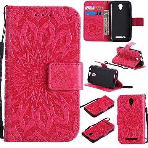 Guran PU Leder Tasche Etui für ZTE Blade L110 (A110) Smartphone Flip Cover Stand Hülle & Karte Slot Hülle-rote