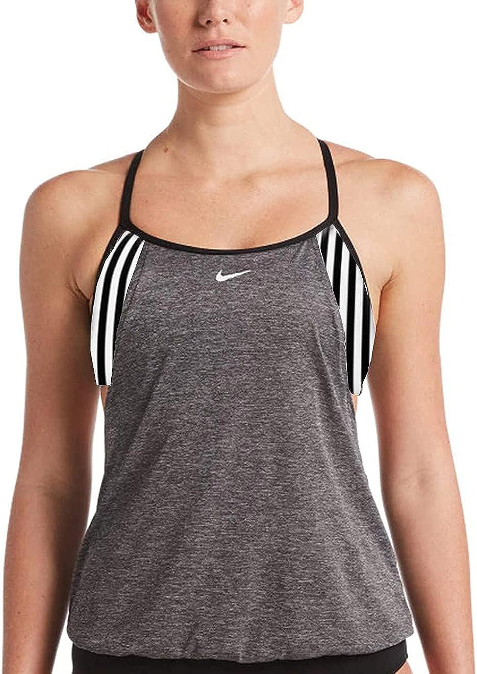 Nike Layered Drape Sport Tankini Set 2 Piece Swimsuit Swimwear