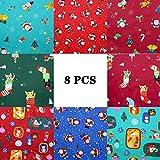 8 Piezas Navidad Tela de Algodón Patchwork Tela por Metros Paquete de Tela Patrón Costura de Material Textil Manualidades para Coser DIY Bricolaje (25 x 25cm)