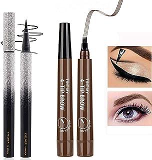 Eyeliner Pen,Color eyeliner,Waterproof Proof Hypoallergenic Eyeliner, Neon Slim Eyeliners,Quick Drying 2pcs (Black/Dark Br...