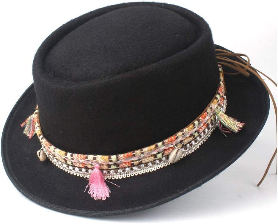 No-branded Fashion Women Pork Pie Hat with Tassel Belt Trilby Hat Porkpie Casual Wild Hat Flat Fedora Retro Hat ZRZZUS (Color : Black, Size : 58)