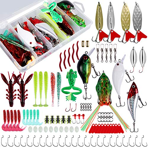 Nswdhy Fishing Spoon Fishing Lures Kit for Freshwater Bait Tackle Kit for Bass Trout Salmon Fishing...