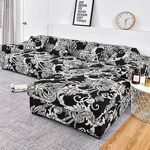 WXQY Fundas Estampadas elásticas Antideslizantes Funda de sofá para Mascotas Funda de sofá para Mascotas Esquina en Forma de L Funda de sofá Antideslizante A8 2 plazas