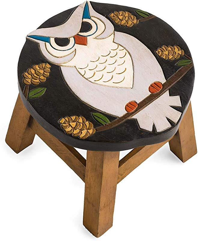 Plow Hearth Hand Carved Wood Owl Footstool 12 L X 12 W X 10 H