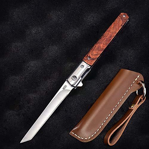 Eil Taschenmesser, Messer extra scharf, Einhandmesser, Klappmesser mit Holzgriff, Outdoor & Survival Messer mit Edelstahlklinge, für Arbeit Wandern Camping