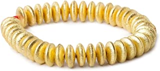 12mm 22KT Gold Plated Copper Disc Brushed Bead 8 inch 33 Pieces