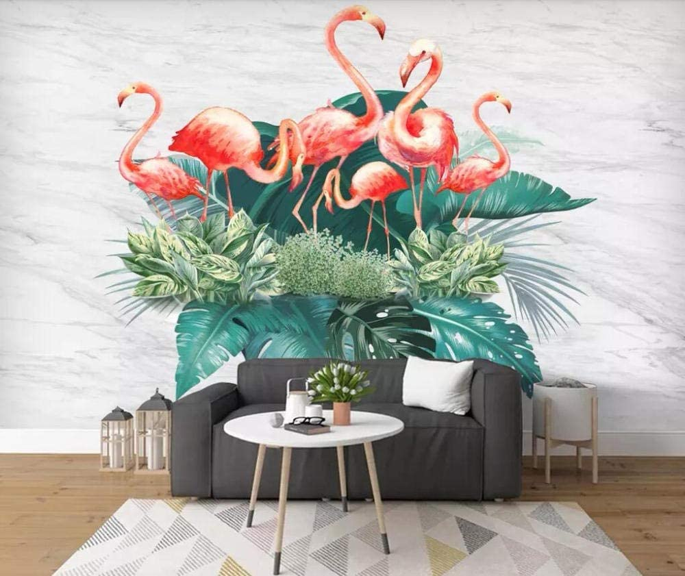 Wallpaper Finally popular brand Tropical specialty shop Plants Flamingo Background Wall Painting