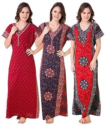 Masha Women's Cotton Combo Of 3 Nighty (Nt3Pcs-187-189-172_Red Blue Red_Free Size)