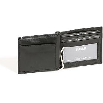 LEAS Portefeuille avec clip pour billets Pinces /à billets Money Clip avec compartiment pour la monnaie aligner cuir v/éritable noir Special Edition