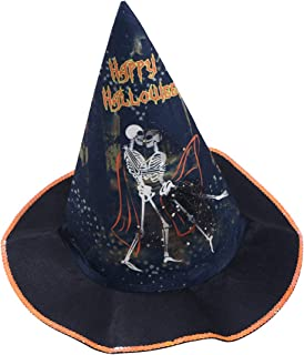 Amosfun Halloween Party Witch Hat Horror Skull Witch Cap Cone Shaped Magician Hat Halloween Party Cosplay Prop (Orange and Black)