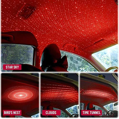4 In 1 Mini Led Autodach Stern Nachtlichter Projektor Licht Innenraum Atmosphäre Atmosphäre Galaxie Lampe Dekorationslicht Usb Plug-Red_China_Uk