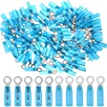 Hilitchi 50Pcs Nylon Heat Shrink Ring Insulated Terminal Electrical Wire Crimp Connector (16-14AWG, #10)
