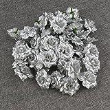 VORCOOL 50 Stück Kunstblumen Rosenköpfe Stoffrosen Deko-Blüte (Silber) - 3