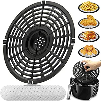 Air Fryer Replacement Grill Pan For Power Gowise 5QT Air Fryers, Crisper Pan, Air Fryer Accessories, Non-Stick Air Fryer Pan, Dishwasher Safe(Gift: 20air fryer filter papers)