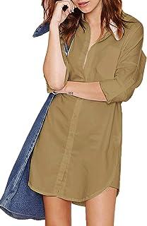 HAOYIHUI Women's Casual Long Sleeve Boyfriend Pocket Shirt Dress Tunic Top