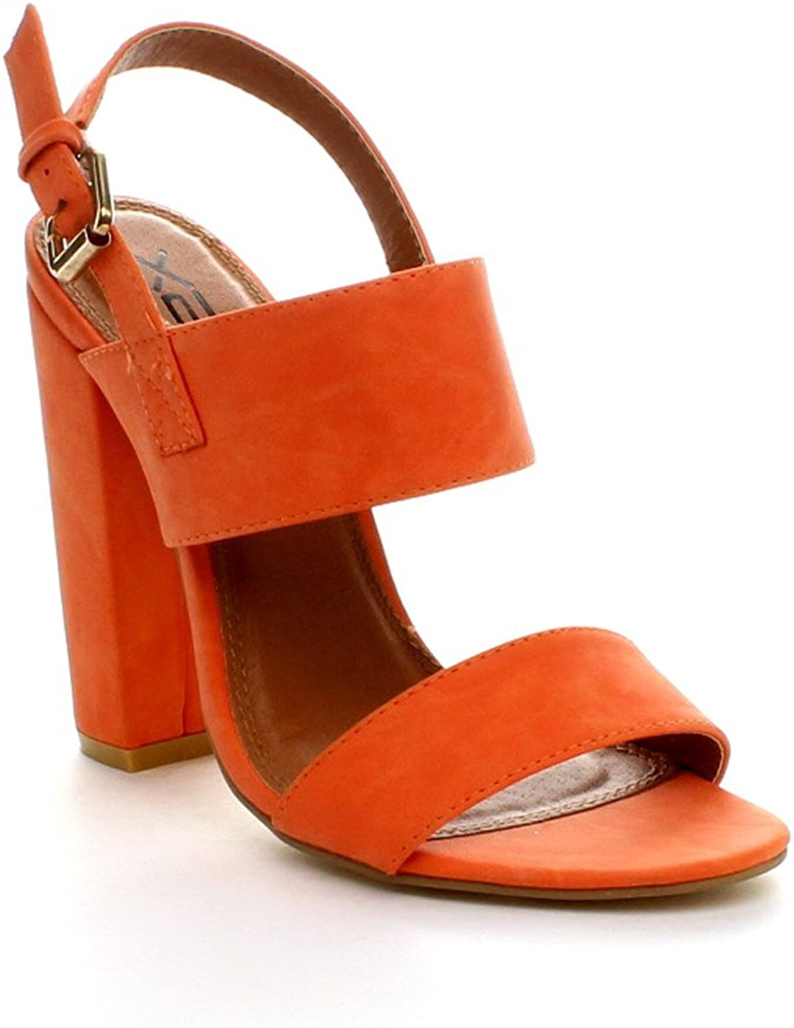 X2B Static Footwear Fay-1 Womens Round Toe Buckle Ankle Strap Chunky Heel Dress Sandals,orange,5.5