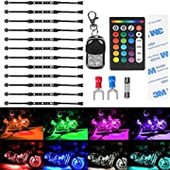 New Upgrade: Pack of 12Pcs RGB Flexible Strips,each strip includes SUPER stick tape to easy install. Dual IR/RF Wireless Remote Control Motorcycle Light Kit.It can be controlled by 2 different wireless remote controllers at the SAME time. 2Pcs 120cm ...