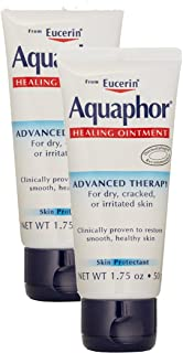 Eucerin Aquaphor Healing Ointment Dry, Cracked and Irritated Skin Protectant, 1.75 Oz Tube, 2 pack