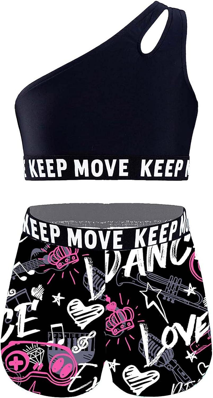 Hansber Kids Girls 2 Pcs Heart Bowknot Straps Crop Top with Booty Shorts Sports/Dance/Gymnastics/Swim Set
