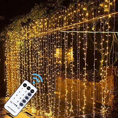 MAGGIFT 304 LED Curtain String Lights 9 8 x 9 8 ft 8 Modes Plug in Fairy String Light with Remote product image