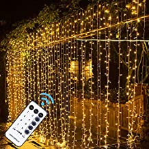 MAGGIFT 304 LED Curtain String Lights, 9.8 x 9.8 ft, 8 Modes Plug in Fairy String Light with Remote Control, Christmas, Backdrop for Indoor Outdoor Bedroom Window Wedding Party Decoration, Warm White