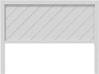 PEJECAR cabecero Davao para Cama de 135 Fabricado en Madera de Pino insigni con Rayas diagonales Acabado en Blanco nordico