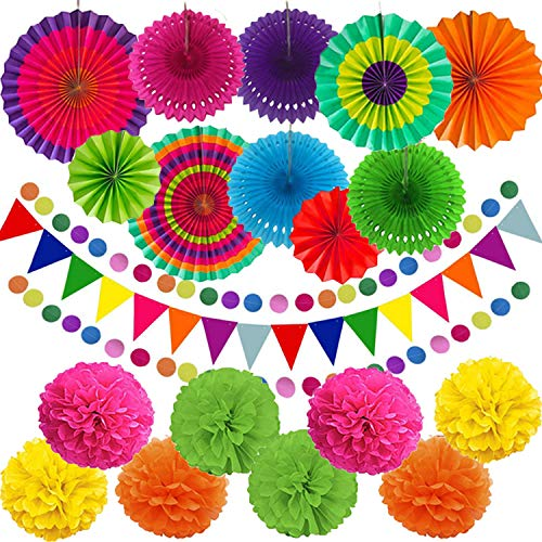 Qune 21 Pcs Party Decoration,Hanging Paper Fans Pom Poms Flowers Garlands String Polka Dot and Triangle Bunting Flags for Birthday Parties, Wedding Décor, Fiesta or Mexican Party