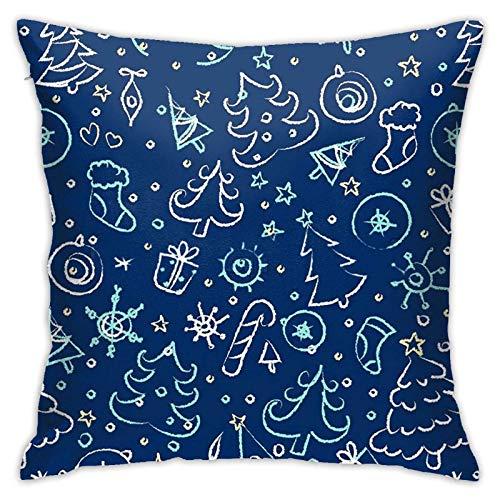 Fundas de cojín de algodón y poliéster con patrón de Navidad, fundas de almohada para sofá, decoración del hogar, 45,7 x 18 pulgadas