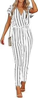 Auxo Femmes Col V Combinaison /À Manches Courtes en Mousseline Plage Vetements Combishort Casual L/âche /Ét/é Shorts Playsuits 01-Marine Taille 2XL//EU 46