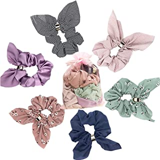 6 Pcs Hair Scrunchies Rabbit Bunny Ear Bow Bowknot Women's Hair Scrunchie Chiffon Flower Scrunchy Bobbles Elastic Hair Ties Bands Ponytail Holder for Women Girls and Laides, 6 Colors