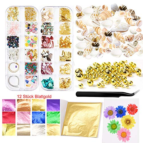 MAEKIJOY Resin Zubehör Set mit Gold Blatt Folienflocken Perlen Blüte Schale für Epoxidharz Gießharz Harz Anhänger Resin Schmuck Anhänger Untersetzer Tablett Art Handwerk