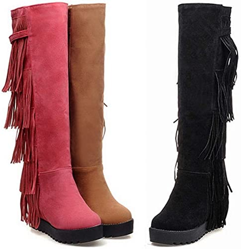 ZHRUI Stiefel para damen - Stiefel largas a la Rodilla Stiefel Femeninas aumentadas Stiefel Martin   34-43 (Farbe   Gelb, tamaño   43)